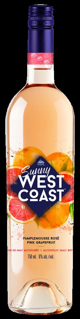 Bouteille de Sunny West Coast à sa veur de vin et de pamplemousse rosé